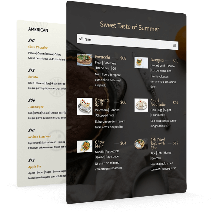 Include ingredients into food items of divi restaurant menu